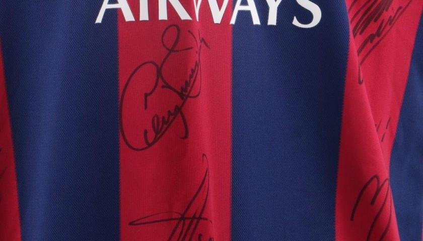 Messi Barcelona shirt, season 2014/2015 - signed by the team
