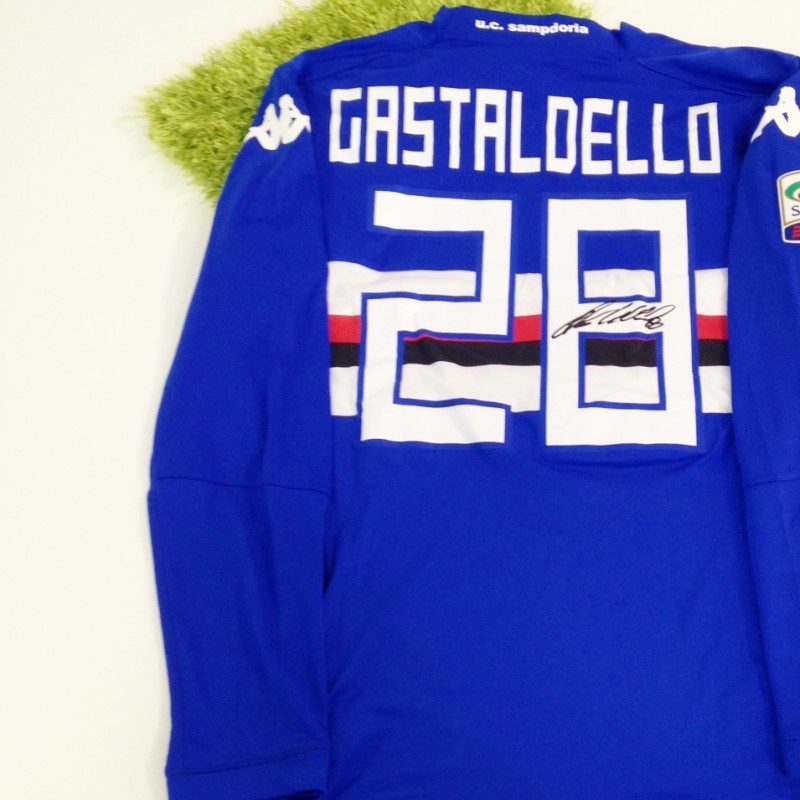 Gastaldello Sampdoria issued/worn shirt, Serie A 2014/2015 - signed