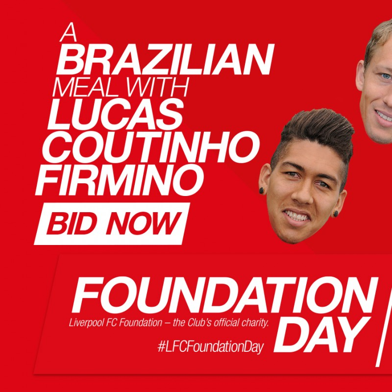 Join Lucas Leiva, Philippe Coutinho and Roberto Firmino for a meal in Liverpool