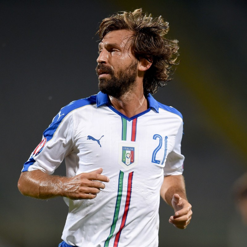 Pirlo's Match-Issued/Worn Italy Shirt, 2016 Euro Qualifiers