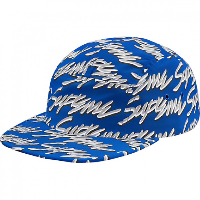 Blue Supreme Signature Script Logo Camp Cap Royal