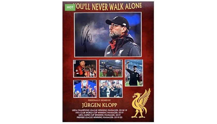 Liverpool Montage Celebrations Signed by Jurgen Klopp