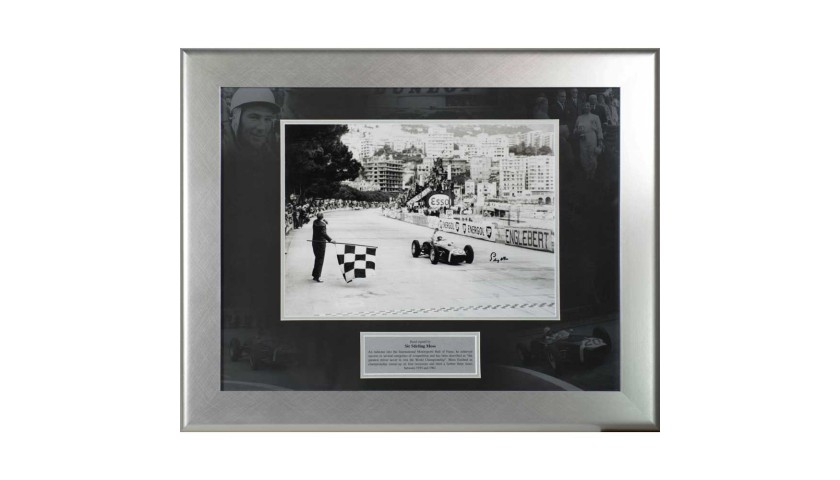 Stirling Moss Chequered Flag B/W Print
