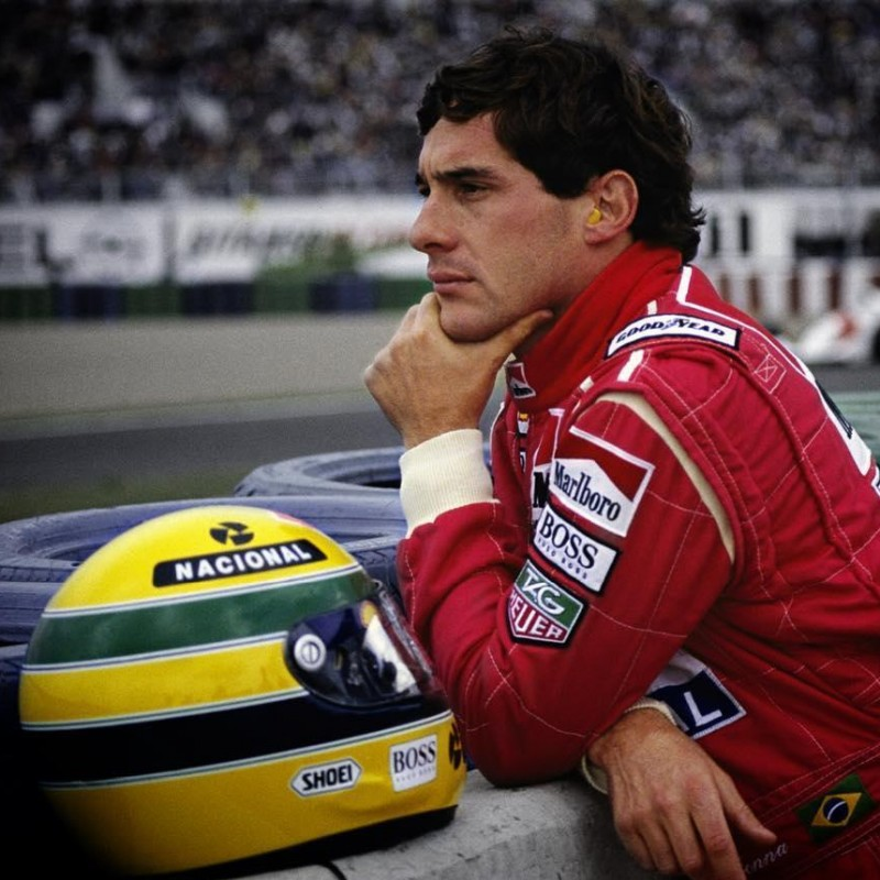 Ayrton Senna's Replica Helmet and Limited Edition Badge Pin Collection