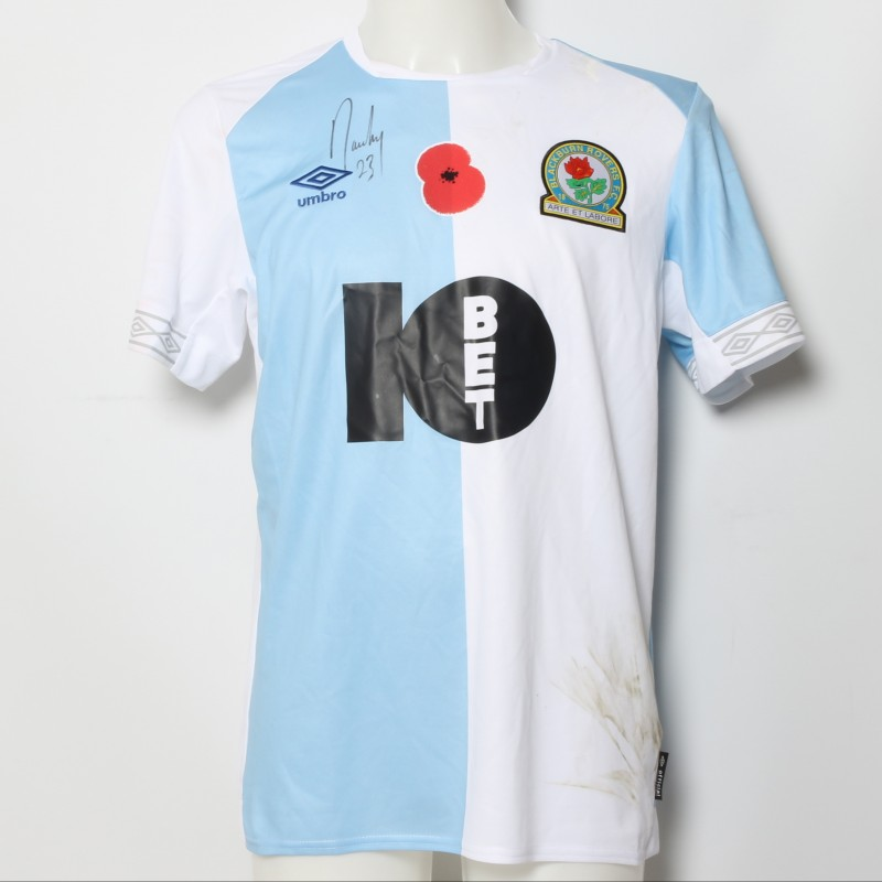 Bradley Dack's Match-Worn Blackburn Rovers Signed Poppy Home Shirt