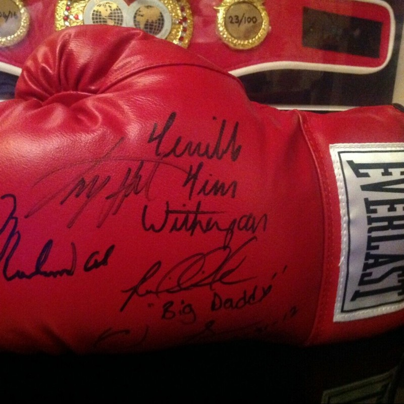 Ali, Holmes, Witherspoon, Bowe, Shavers Signed Everlast Glove