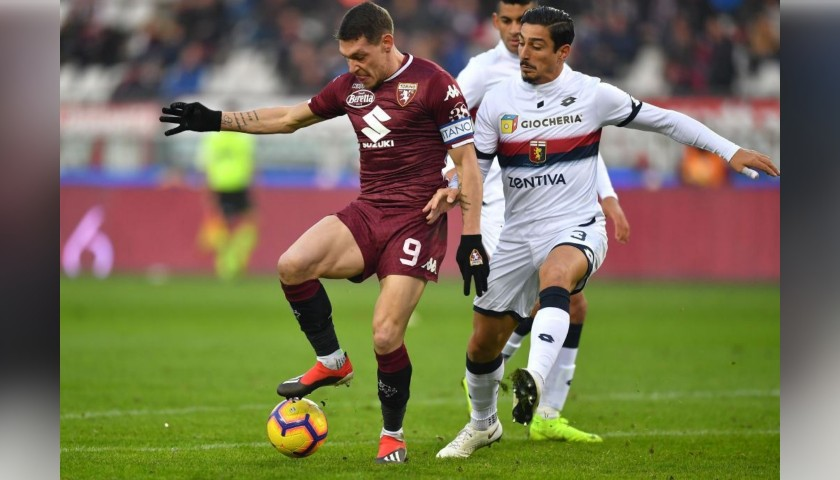 Belotti's Worn Shirt with Special UNICEF Patch, Torino-Genoa