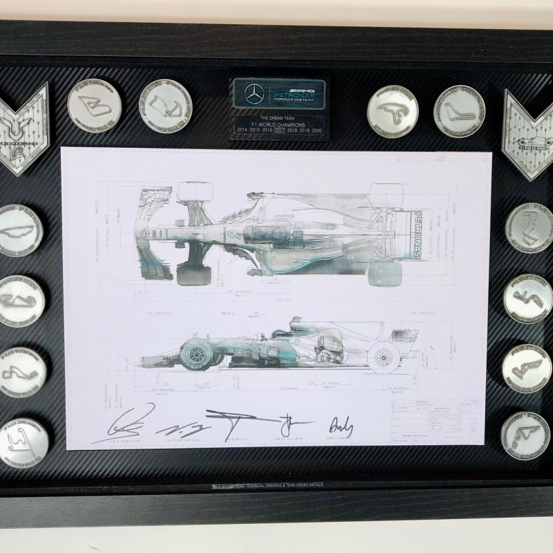 Lewis Hamilton Mercedes Signed Print and Medals