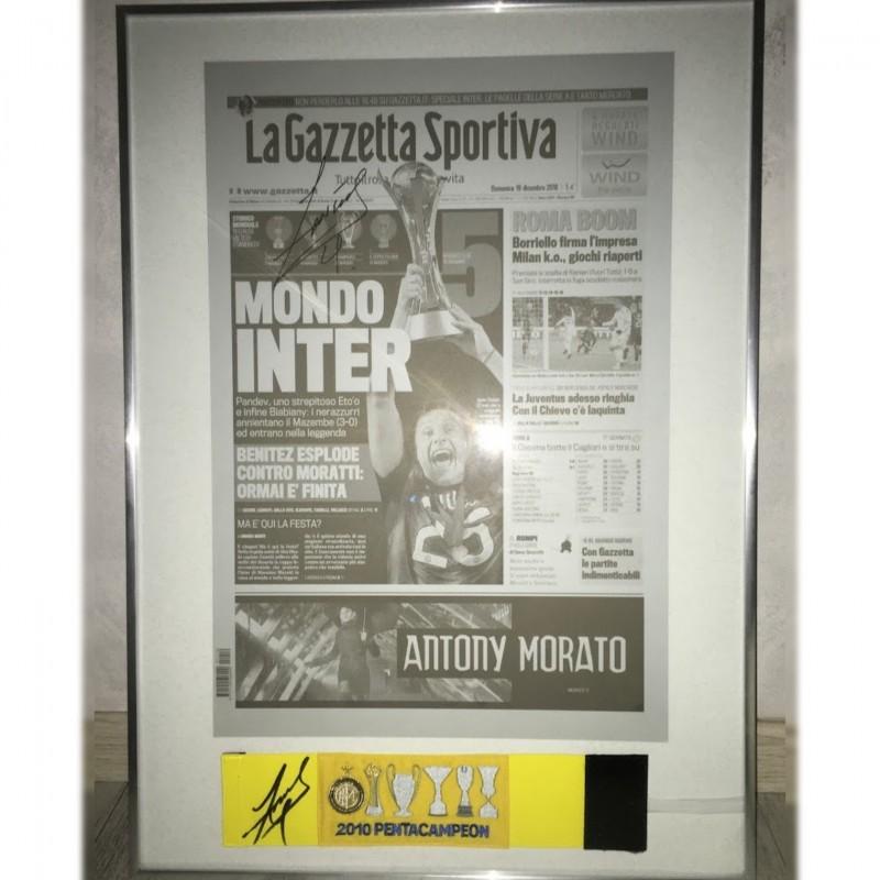 """Mondo Inter"" Picture + Captain's Armband - Signed by Zanetti"