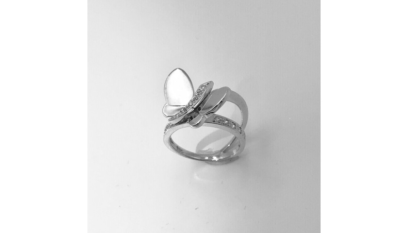 14KT White Gold Butterfly Diamond Ring