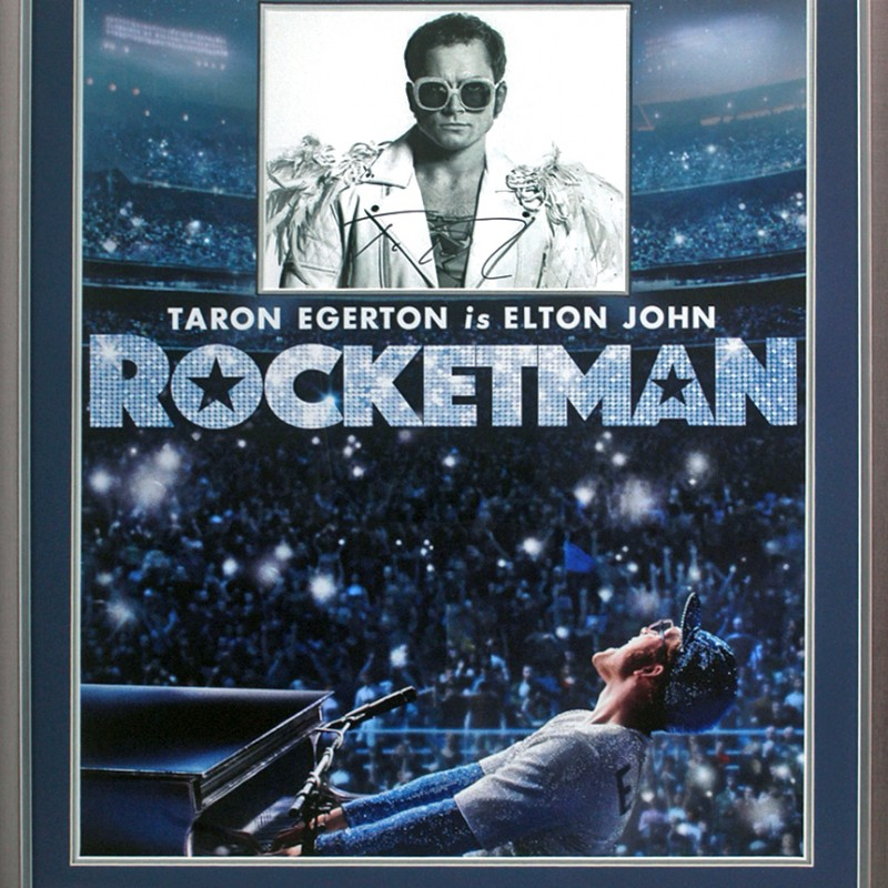 Taron Egerton Hand Signed Elton John Rocketman Movie Presentation