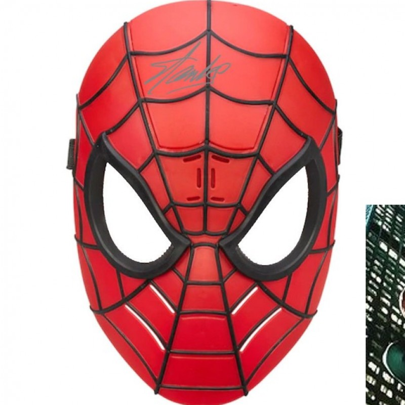 Spiderman Mask with Stan Lee Printed Signature