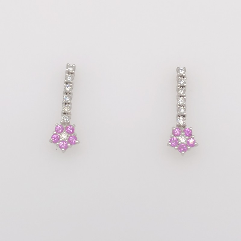 14KT White Gold Diamond and Pink Sapphire Dangle Earrings