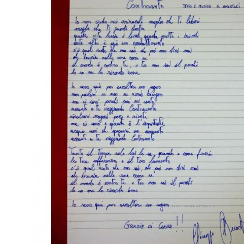 """Manoscritto canzone """"Controvento"""" vincitrice di Sanremo 2014 autografato dall'autore"""