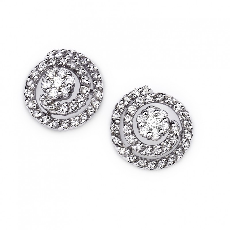 14KT White Gold and Diamond Spiral Earrings