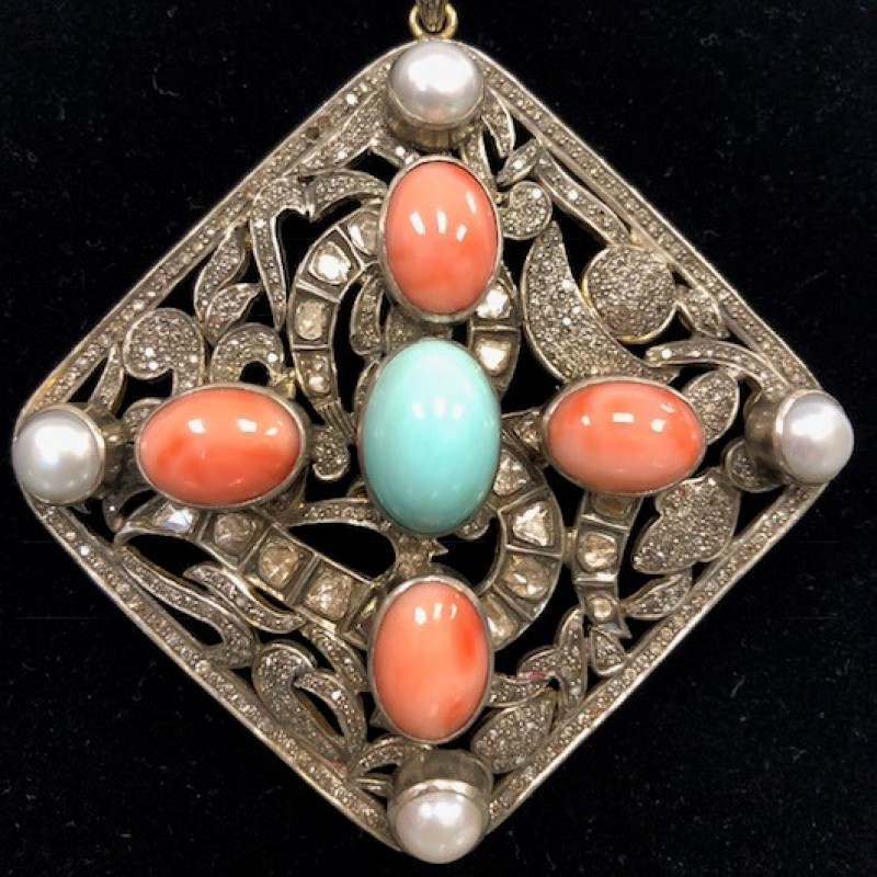 Joan Boyce Silver Pendant with Coral, Pearl and Turquoise