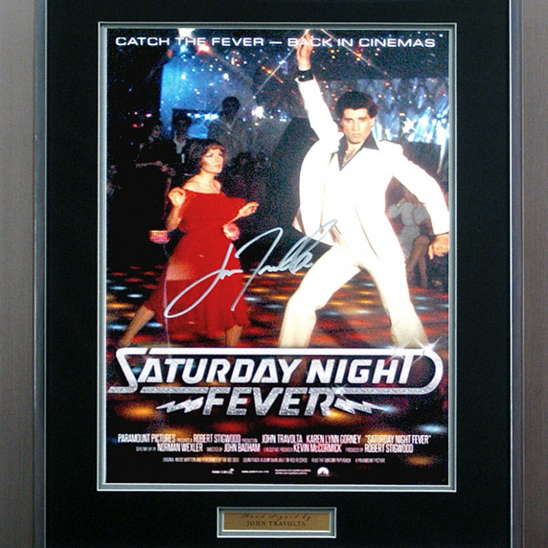John Travolta Hand Signed 'Saturday Night Fever' Movie Poster Presentation