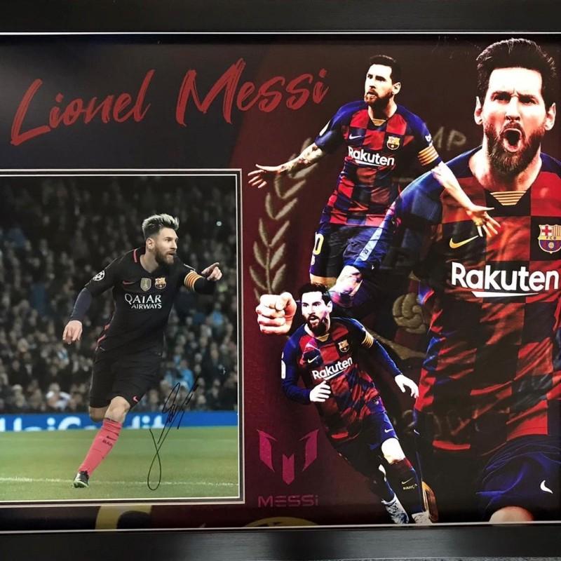 Lionel Messi Barcelona Signed Photo Display