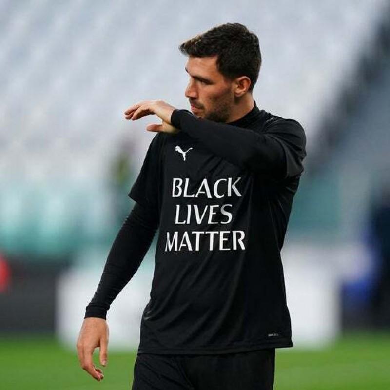 """Training Shirt, Juventus-Milan - """"Black Lives Matter"""" - Signed by Romagnoli"""