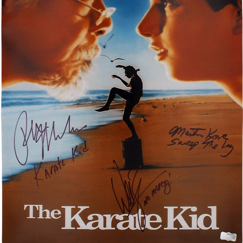 "Macchio, Kove, & Zabka Signed Karate Kid ""Movie Poster"" Photo"