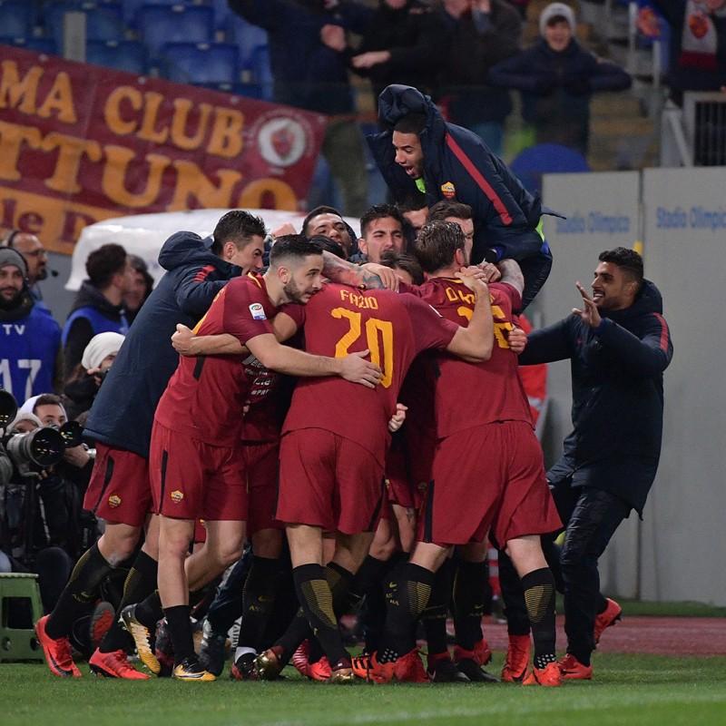 Bruno Peres' Match-Worn Roma-Cagliari Shirt, Special Sponsor Telethon