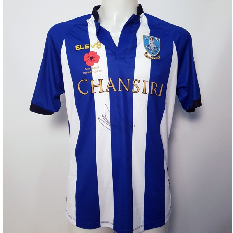 Morgan Fox's Sheffield Wednesday Worn and Signed Poppy Home Shirt