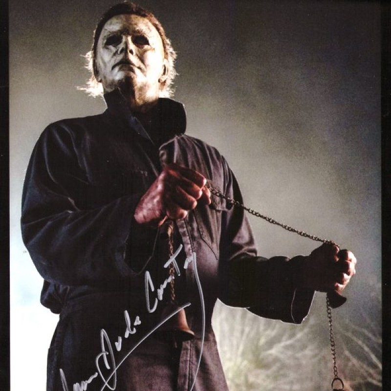 James Jude Courtney Signed Halloween Photo - Bell in Hand
