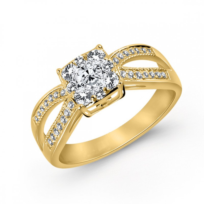 14KT Yellow Gold Split Shank Diamond Ring