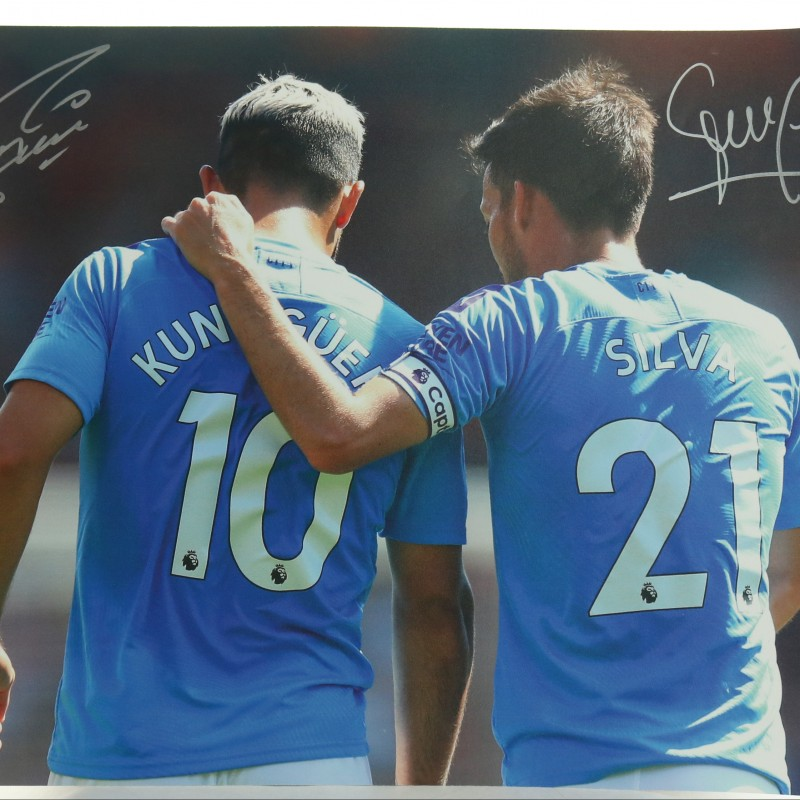 """Manchester City Legends Sergio Aguero and David Silva"" Signed Picture"