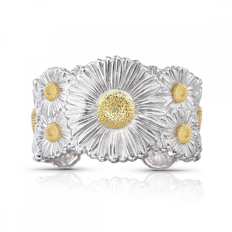 Bracciale cuff Blossoms Daisy in argento e oro