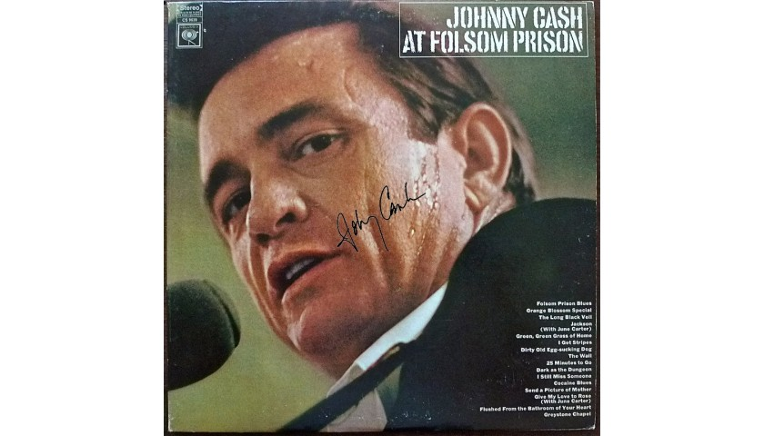 Johnny Cash at Folsum Prison Record with Printed Signature
