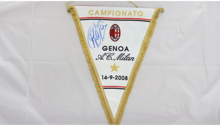 Official Pennants from Milan-Udinese 2010 and Milan-Genoa 2008 - Signed by Inzaghi
