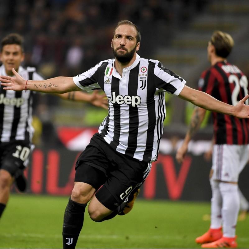 Higuain's UNWASHED Match-Worn Juventus Shirt, 2017/18 Serie A