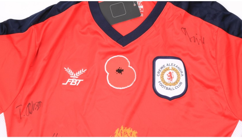 Crewe Alexandra Official Poppy Shirt Signed by the Team