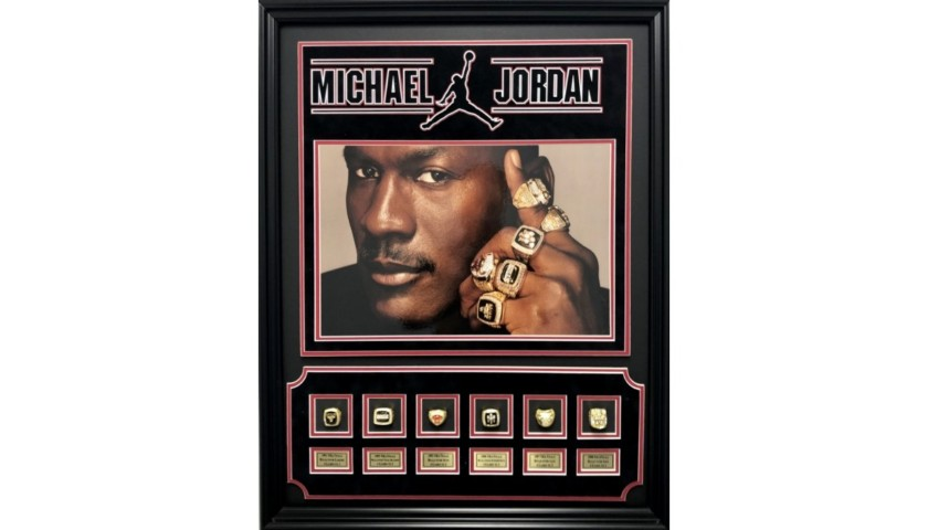 Michael Jordan 6X NBA Champion Rings Shadowbox