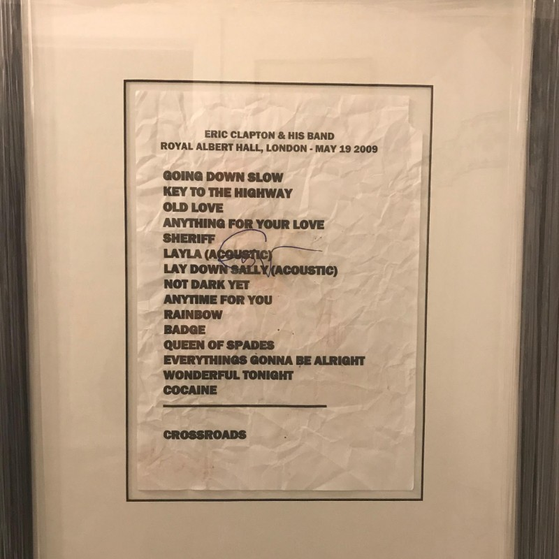 Eric Clapton Framed Signed Stage Used Setlist