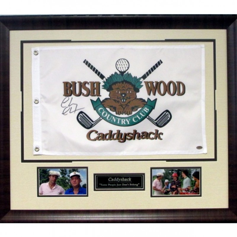 """Caddyshack's  """"Bushwood Country Club"""" Pin Flag Autographed by Chevy Chase"""