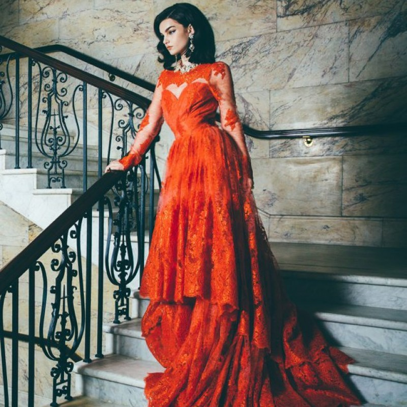 Beautiful Red Evening Gown by Katayoon