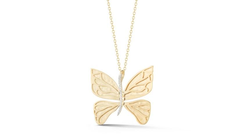 Reiss 14K Yellow Gold & Diamond Butterfly Pendant