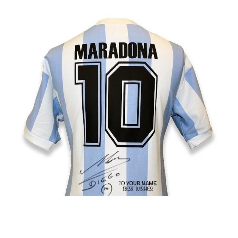 Official Signed and Personally Dedicated Maradona Argentina 1986 Shirt