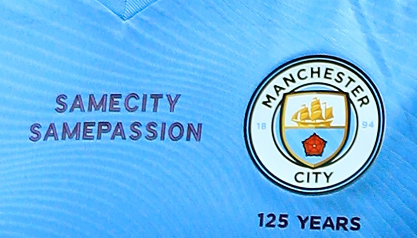 Manchester City's John Stones Match Issued Manchester Derby Shirt