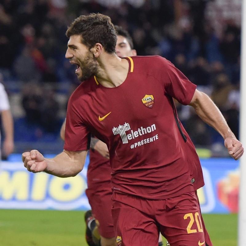 Fazio's Match-Worn Roma-Cagliari Shirt, Special Sponsor Telethon