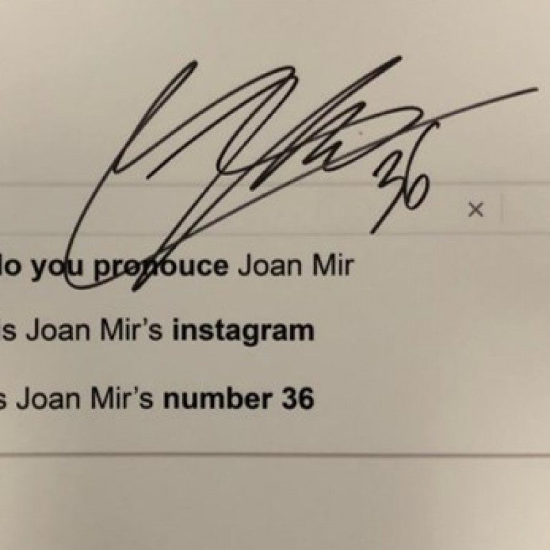 Signed Joan Mir 'Top 3 Google Searches' Board from the Grand Prix of Styria