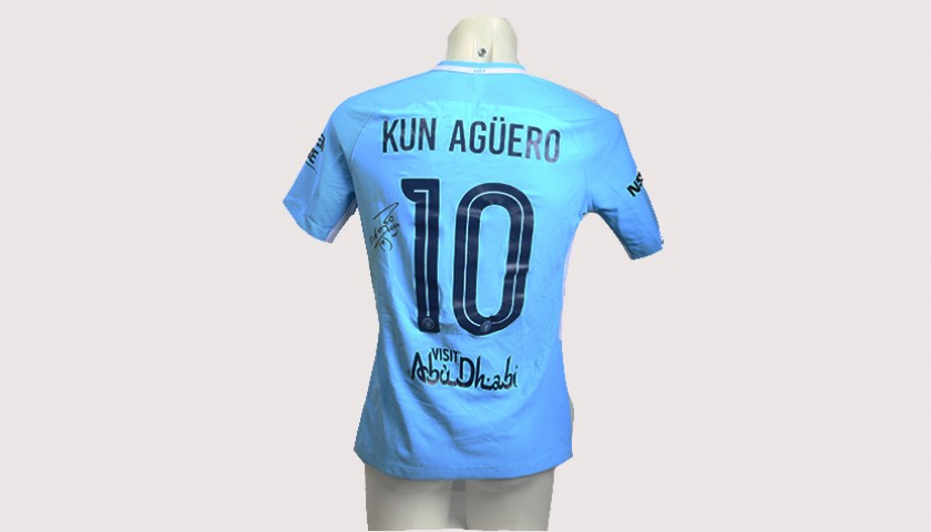 release date: 2de17 69f49 Sergio Aguero Worn and Signed Manchester City 17/18 Shirt - CharityStars