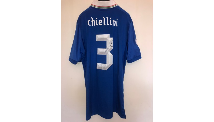 Chiellini's Signed Italy Match Shirt, World Cup 2014 Qualifiers