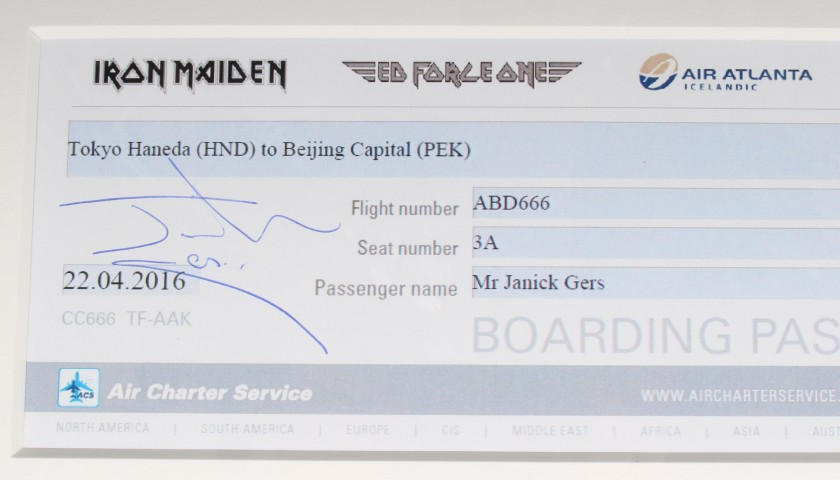 ED Force One Boarding Passes Used and Signed by Iron Maiden