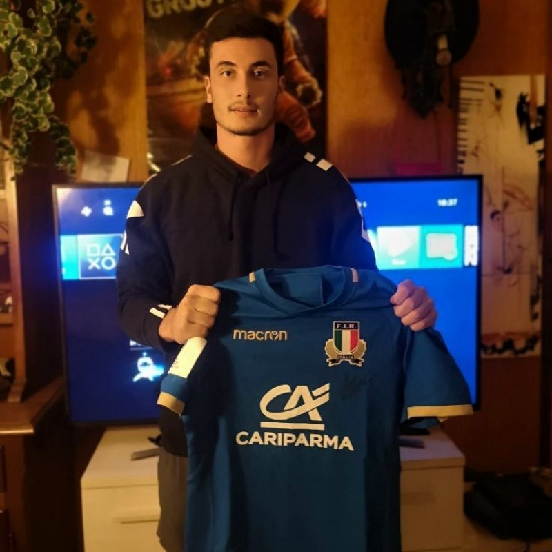 Zanon's Italy Worn and Signed Rugby Shirt, Italy-Figi 2018