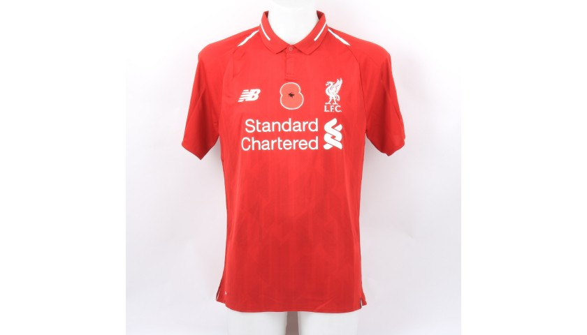 Lallana's Liverpool Match-issued and Signed Poppy Shirt