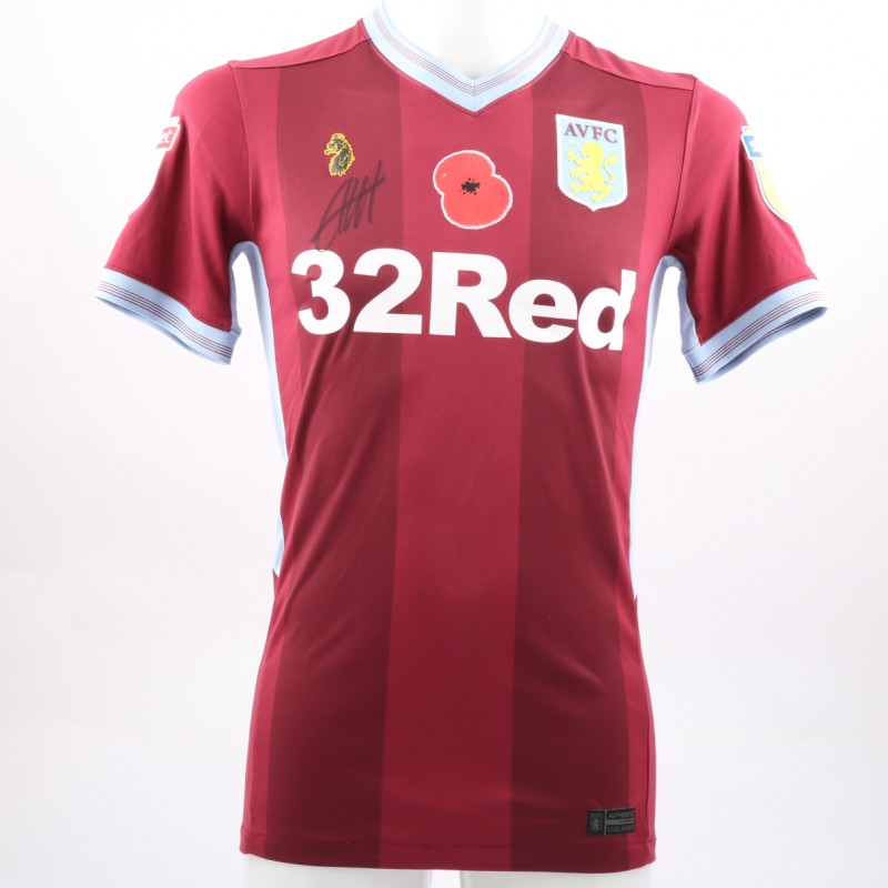 Conor Hourihane's Worn and Signed Aston Villa Home Poppy Shirt