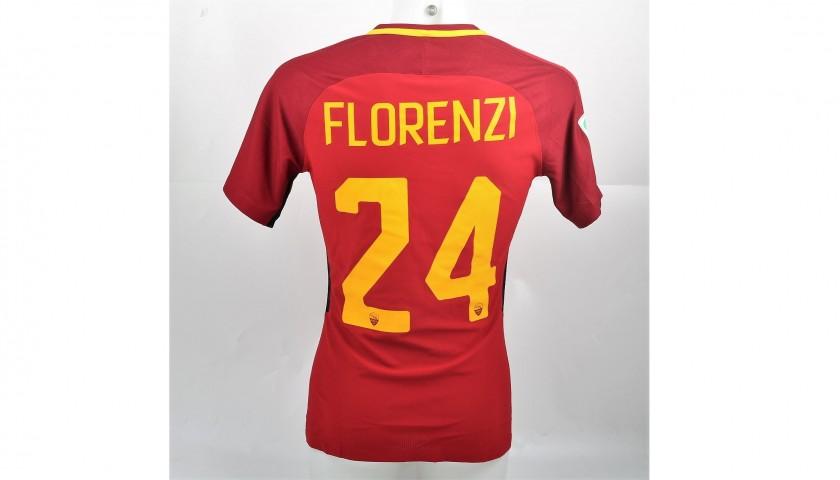 Florenzi's Match-Worn Roma-Cagliari Shirt, Special Sponsor Telethon